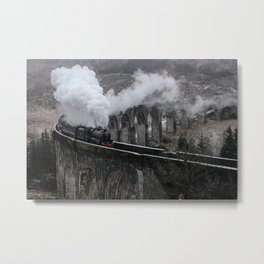 BLACK STEAM TRAIN EMITTING SMOKE ON CONCRETE RAILWAY DURING DAYTIME Metal Print