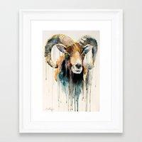 ram Framed Art Prints featuring Ram by Slaveika Aladjova