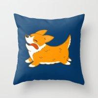 corgi Throw Pillows featuring Corgi!! by mecantdraw