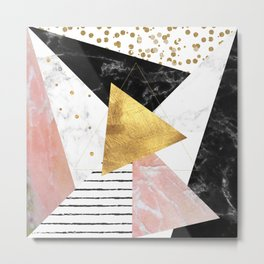 Elegant geometric marble and gold design Metal Print
