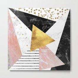 Elegant geometric marble and gold design Metal Print