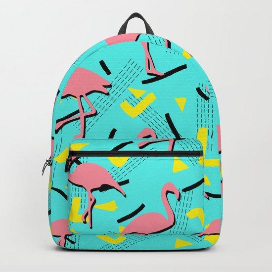 Flamingos Memphis #society6 #decor #buyart Backpack