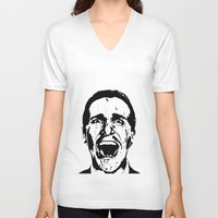 american psycho V-neck T-shirts featuring American Psycho by ginaxcuzzilla