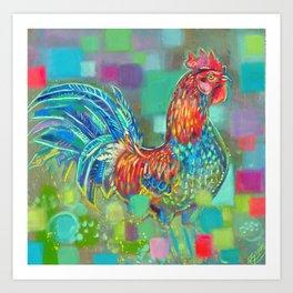 Cockerel in the sun Art Print