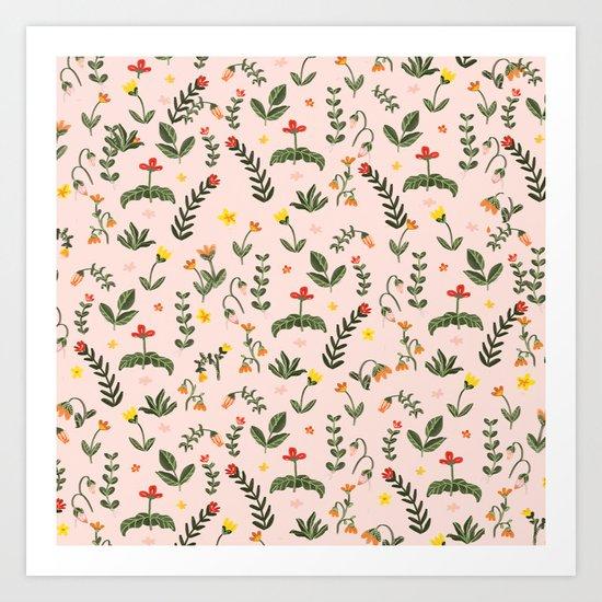 Bright Pink Floral Garden Art Print