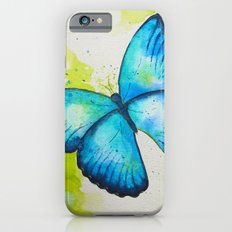 Blue Butterfly Watercolor Painting iPhone 6s Slim Case
