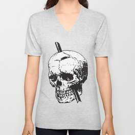 Frontal Lobotomy Skull Of Phineas Gage Vector Isolated Unisex V-Neck