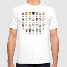 Video Games Pixel Alphabet LARGE White Mens Fitted Tee
