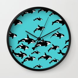 Orca Whale Pattern on Blue Wall Clock