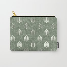block print palm on sage Carry-All Pouch