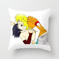 sasuke Throw Pillows featuring Sasuke y Liara by rosalia