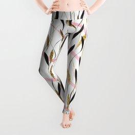 Pink Watercolor Brushstroke Gold Black Leafy Vines Leggings
