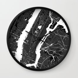 New York City Black And White Map Wall Clock