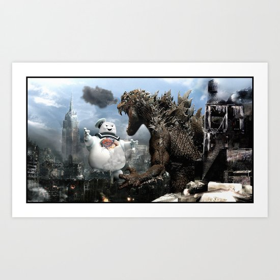 Godzilla versus The Staypuft Marshmallow Man Art Print