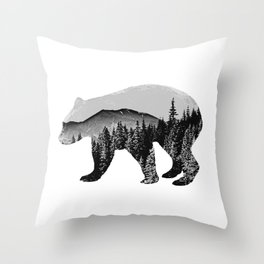 mountain bear Throw Pillow