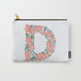 Floral Type - Letter D - Salmon Carry-All Pouch