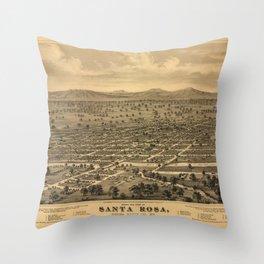 Vintage Bird's Eye Map Illustration - Santa Rosa, Sonoma County, California (1876) Throw Pillow
