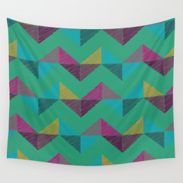 Geo Chevron in Emerald Wall Tapestry