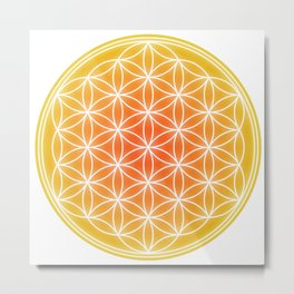 Flower of Life - Yellow calm Metal Print