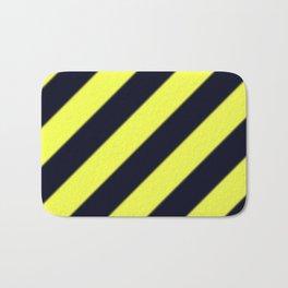 Black and Yellow Diagonal Stripes Bath Mat