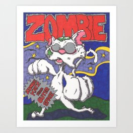 Zombie Kat Spoof Movie Poster Art Print
