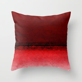 Deep Ruby Red Ombre with Geometrical Patterns Throw Pillow
