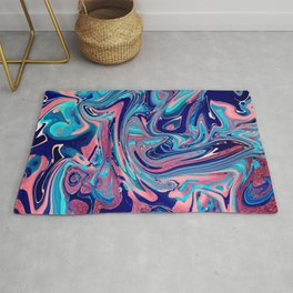 Pink & Blue Marbled Paint Pour Rug