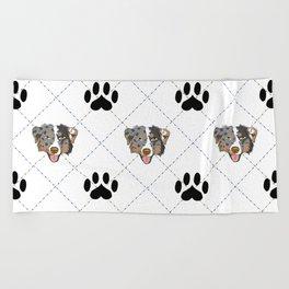 Australian Shepherd Paw Print Pattern Beach Towel