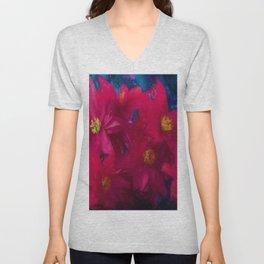 Poinsettia Abstract Unisex V-Neck
