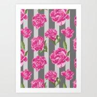 Striped Hot Pink Peony Seamless Pattern Art Print