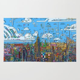 new york city skyline colorful Rug