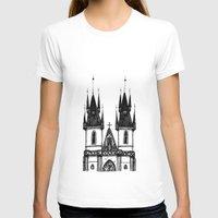 prague T-shirts featuring Tyn Church - Prague by Nicole Cioffe