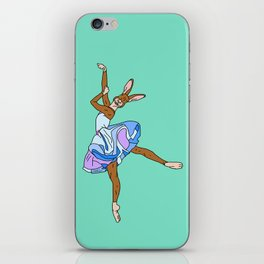Bunny Rabbit Ballerina - Teal Blue iPhone Skin