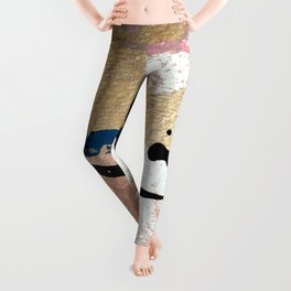 01014: pink, gold, and white abstract Leggings