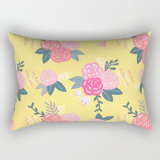 Sweet Roses on Yellow Rectangular Pillow