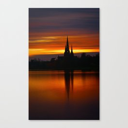 Fiery Sunset Reflection At The The Lichfield Cathedral Canvas Print