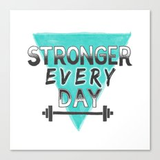 Stronger Every Day (barbell) Canvas Print