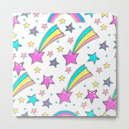 Magical  stars and comets. Cute seamless background.  Colorful pattern. Metal Print