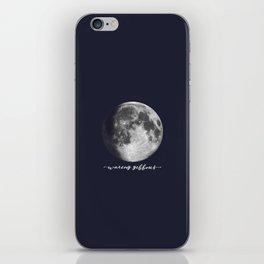 Waxing Gibbous Moon on Navy English iPhone Skin