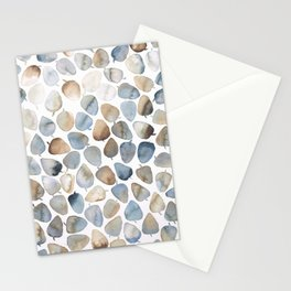 Watercolour Leaves Navy and Beige Stationery Cards