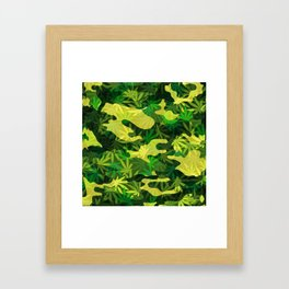 Green Marijuana Cannabis camo camouflage army style pattern Framed Art Print