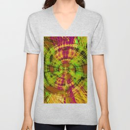 vintage psychedelic abstract pattern in green pink brown yellow Unisex V-Neck