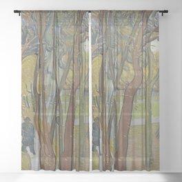 Vincent van Gogh - The Garden of Saint Paul's Hospital ('Leaf-Fall') (1889) Sheer Curtain