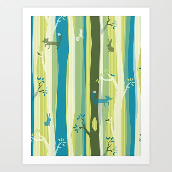 Woodland Stripe Art Print