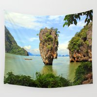 surfboard Wall Tapestries featuring 007 island by mark ashkenazi