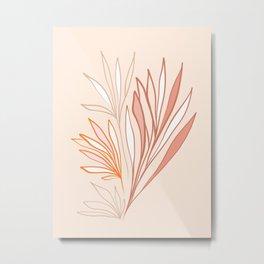 Simple Earthy Leaves - line drawing Metal Print