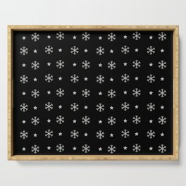 Black background with silver snowflakes and stars pattern Serving Tray
