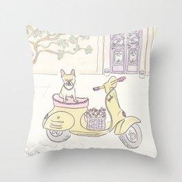 French Bulldog Spock's Scooter Fun Throw Pillow
