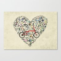 brompton Canvas Prints featuring I Love Brompton Bikes by Wyatt Design