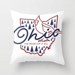Ohio State Line Art Throw Pillow